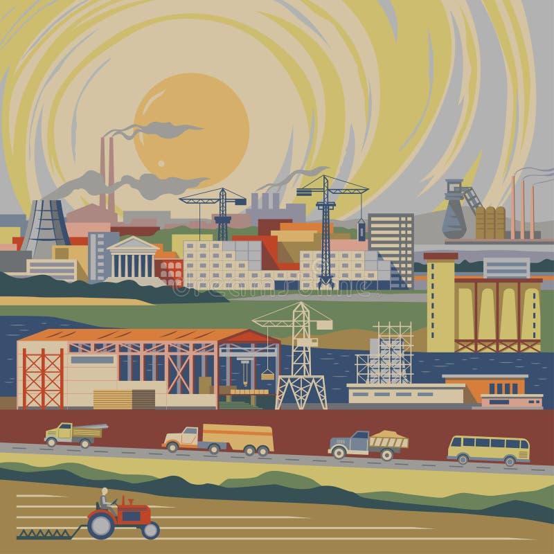 País industrializado stock de ilustración