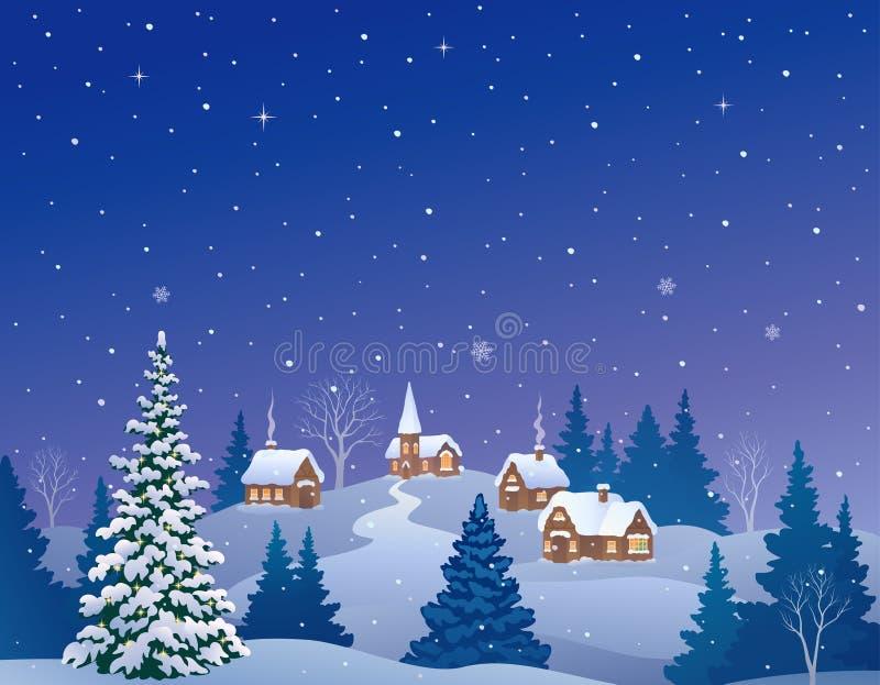 País nevado da Noite de Natal ilustração do vetor