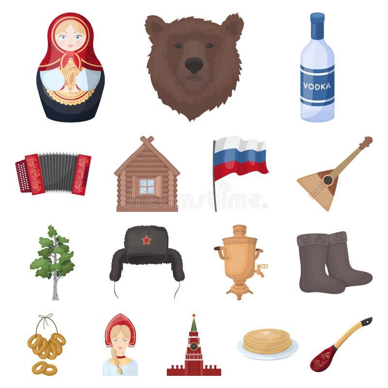 País Rússia, ícones dos desenhos animados do curso na coleção do grupo para o projeto Atrações e Web do estoque do símbolo do vet ilustração royalty free