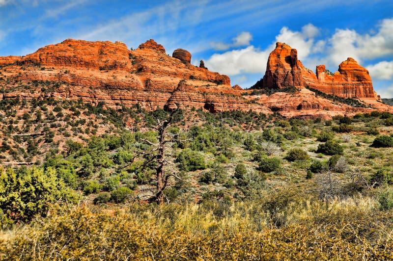 País vermelho da rocha da montanha elevada do deserto fotografia de stock