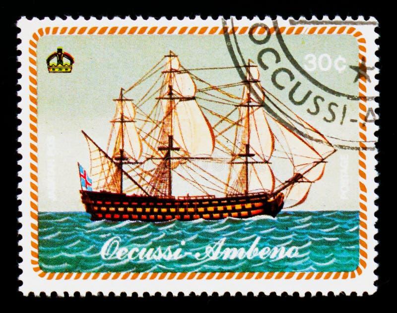 País virtual - Occussi-Ambeno, barco de navigação das mostras, serie, cerca de 1977 imagens de stock