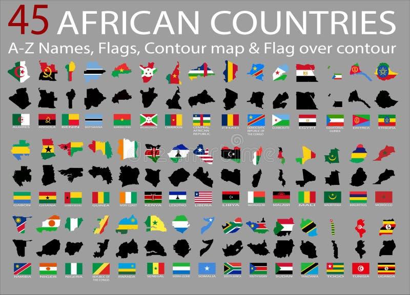 45 países africanos, A-Z Names, bandeiras, contorno e bandeira nacional sobre o contorno ilustração do vetor