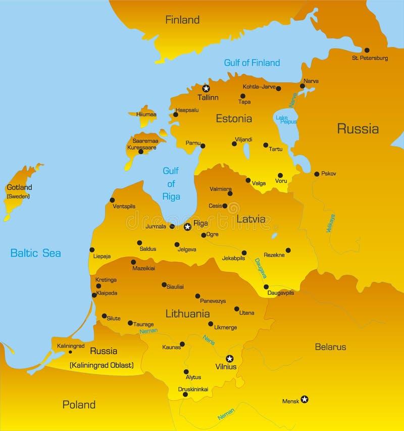 Países bálticos de la región stock de ilustración