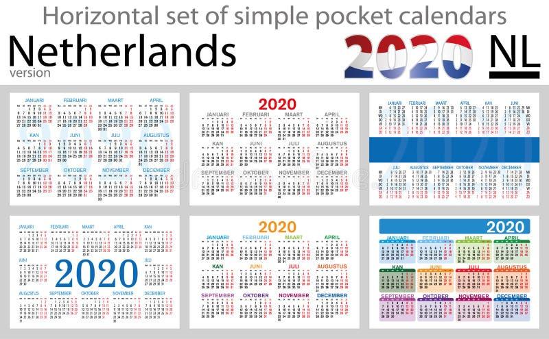 Países Baixos ajustaram-se de calendários do bolso para 2020 ilustração do vetor