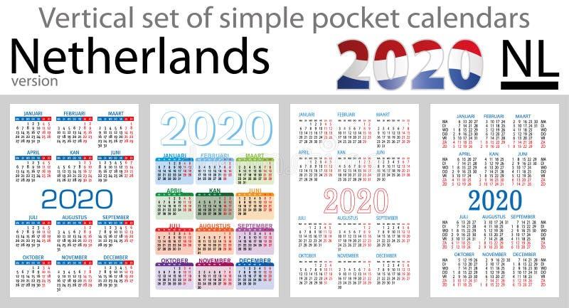 Países Baixos ajustaram-se de calendários do bolso para 2020 ilustração royalty free