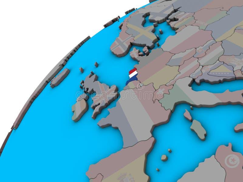 Países Baixos com a bandeira no globo 3D ilustração do vetor