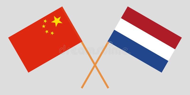 Países Baixos e China O Netherlandish e as bandeiras chinesas Proporção oficial Cores corretas Vetor ilustração stock