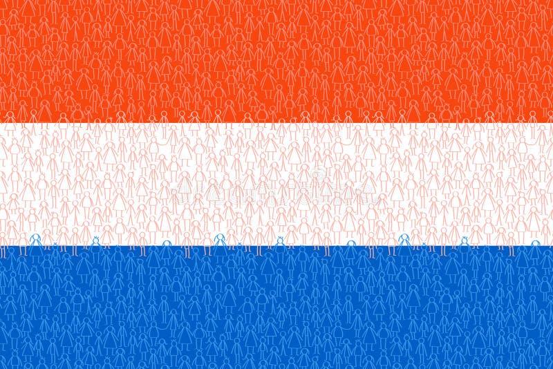 Países Bajos, bandera con la gente del palillo, los ciudadanos, el gráfico conceptual, la muchedumbre de hombres blancos y azules libre illustration