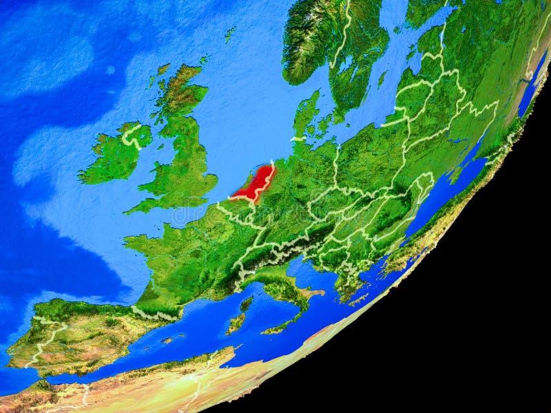 Países Bajos en la tierra del espacio stock de ilustración