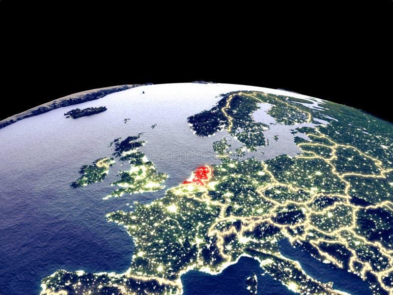 Países Bajos en la tierra del espacio ilustración del vector