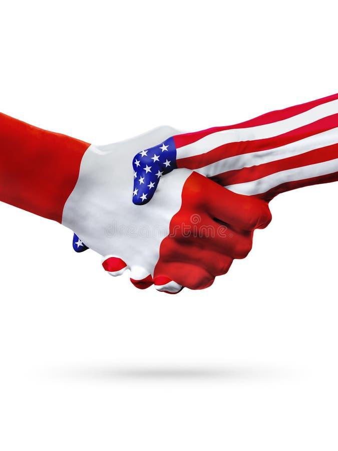 Países de las banderas Perú y de Estados Unidos, apretón de manos sobreimpreso imagen de archivo libre de regalías