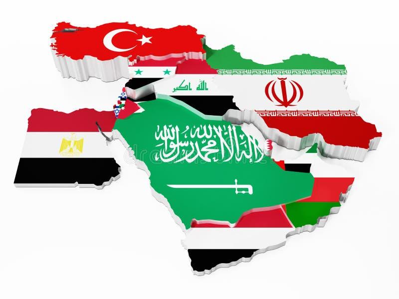 Países de Médio Oriente cobertos com as bandeiras de país ilustração 3D ilustração stock