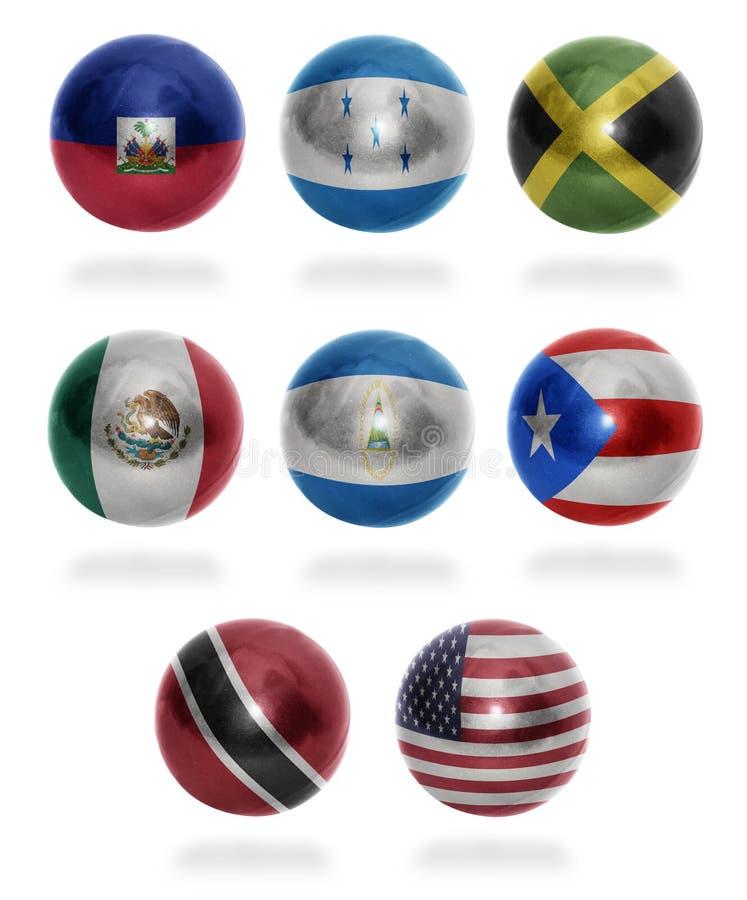 Países de Norteamérica (de H U) a las bolas de la bandera foto de archivo