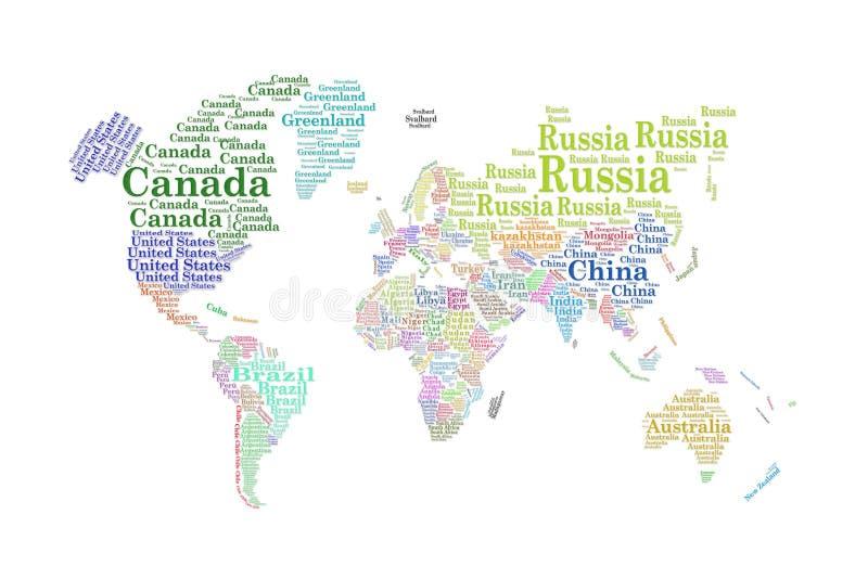 Países del mundo, nube de la palabra libre illustration