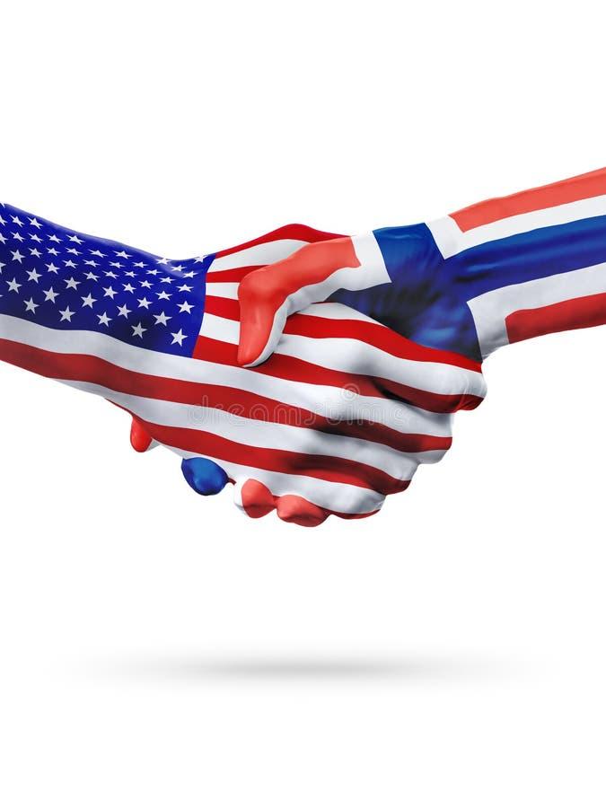 Países do Estados Unidos e da Noruega das bandeiras, aperto de mão da parceria foto de stock royalty free