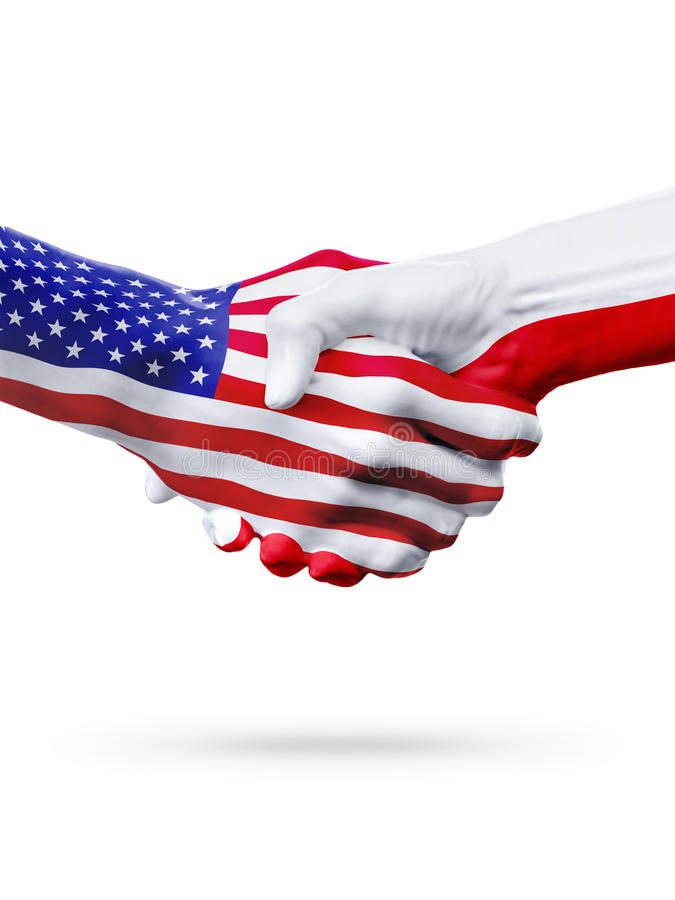 Países do Estados Unidos e do Polônia das bandeiras, aperto de mão da parceria fotografia de stock royalty free