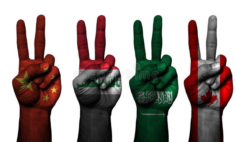 Países do símbolo 4 da mão da paz fotografia de stock