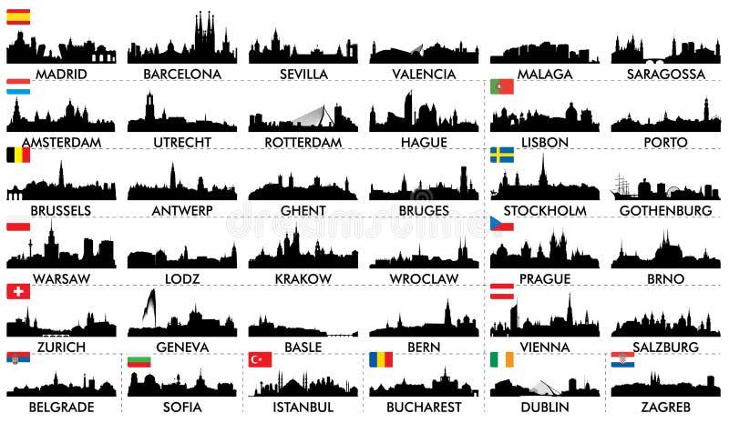 Países europeos del horizonte de la ciudad stock de ilustración
