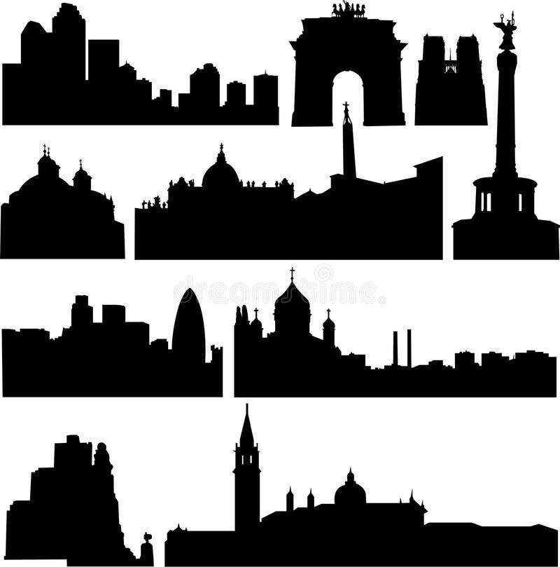 Países europeos, los edificios más famosos ilustración del vector