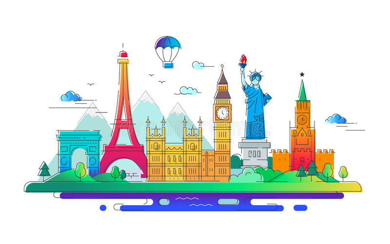 Países - línea ejemplo del vector del viaje stock de ilustración