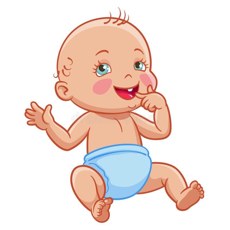 Pañal sonriente que se sienta del bebé infantil de la historieta del vector ilustración del vector