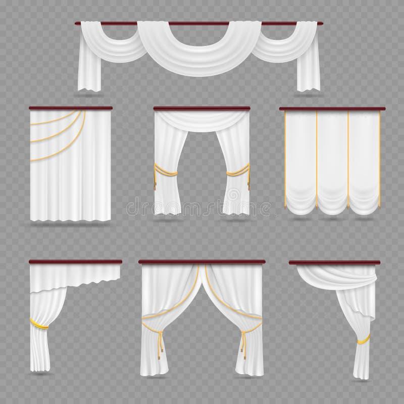 Pañería blanca de las cortinas para casarse el sitio y ventanas en fondo transparente stock de ilustración