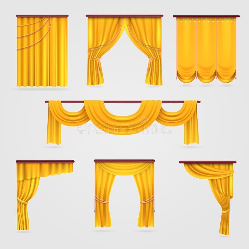 Pañería de la cortina del terciopelo del oro, casandose la acción del vector de la decoración de la etapa ilustración del vector