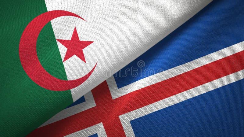 Paño de la materia textil de las banderas de Argelia y de Islandia dos, textura de la tela stock de ilustración