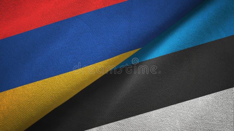 Paño de la materia textil de las banderas de Armenia y de Estonia dos, textura de la tela libre illustration