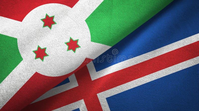 Paño de la materia textil de las banderas de Burundi y de Islandia dos, textura de la tela ilustración del vector