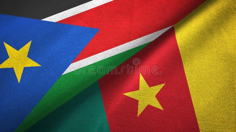 Paño de la materia textil de las banderas del sur de Sudán y del Camerún dos, textura de la tela foto de archivo libre de regalías
