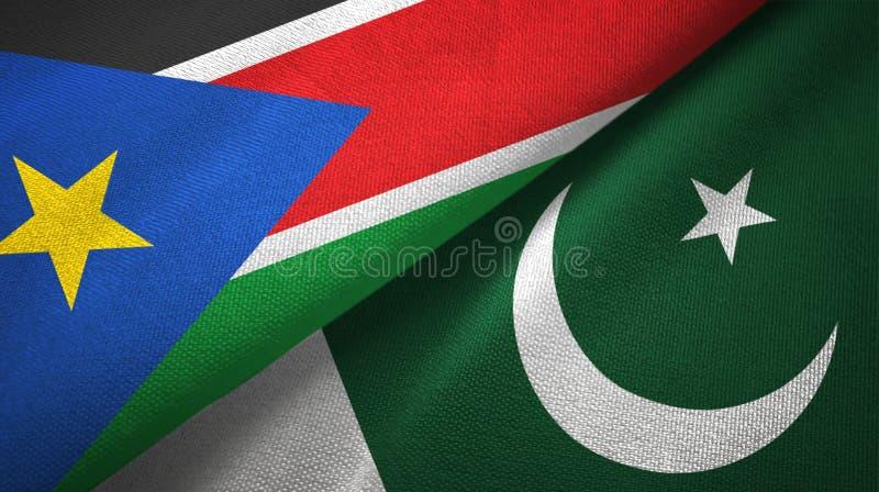 Paño de la materia textil de las banderas del sur de Sudán y de Paquistán dos, textura de la tela imágenes de archivo libres de regalías