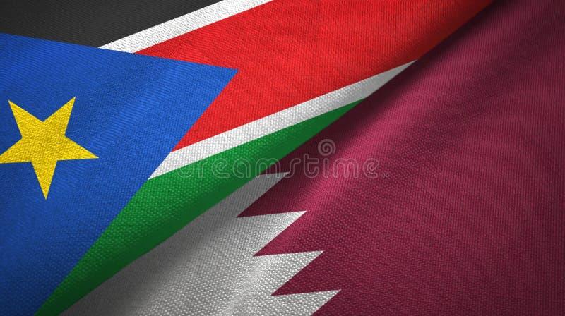 Paño de la materia textil de las banderas del sur de Sudán y de Qatar dos, textura de la tela fotografía de archivo