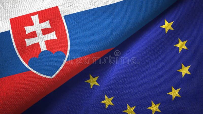 Paño de la materia textil de las banderas de Eslovaquia y de la unión europea dos, textura de la tela ilustración del vector