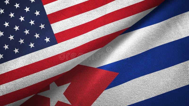 Paño de la materia textil de las banderas de Estados Unidos y de Cuba dos, textura de la tela stock de ilustración
