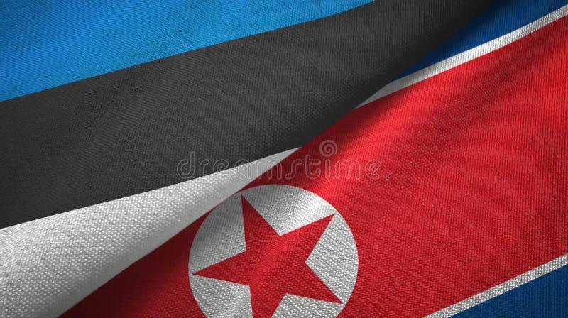Pa?o de la materia textil de las banderas de Estonia y de Corea del Norte dos, textura de la tela ilustración del vector