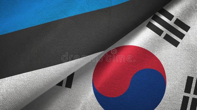 Paño de la materia textil de las banderas de Estonia y de la Corea del Sur dos, textura de la tela libre illustration