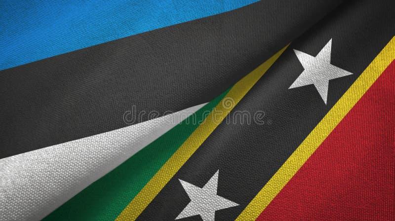 Paño de la materia textil de las banderas de Estonia y del santo San Cristobal y de Nevis dos, textura de la tela libre illustration