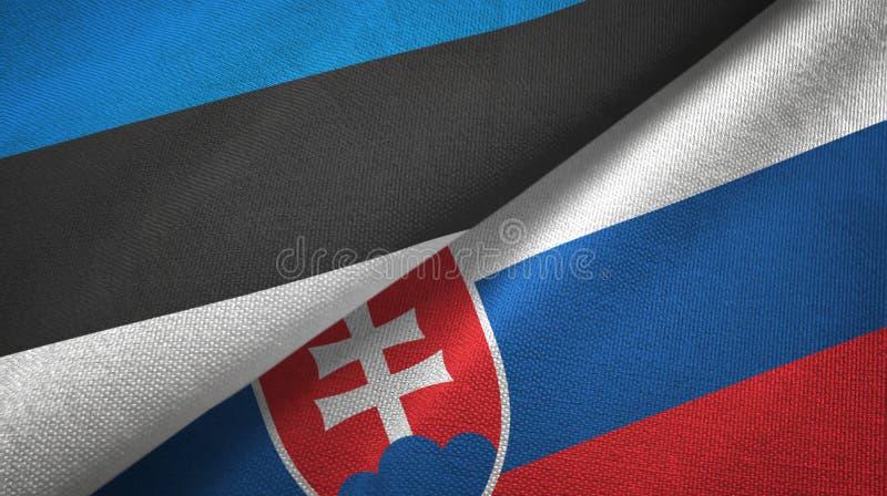 Paño de la materia textil de las banderas de Estonia y de Eslovaquia dos, textura de la tela libre illustration