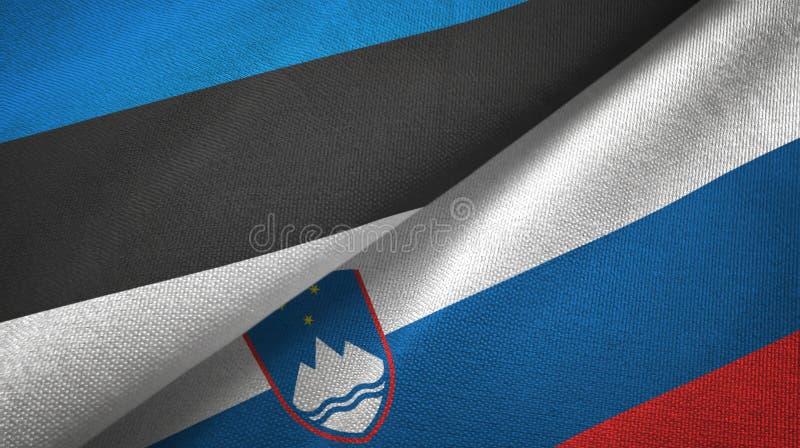 Paño de la materia textil de las banderas de Estonia y de Eslovenia dos, textura de la tela ilustración del vector