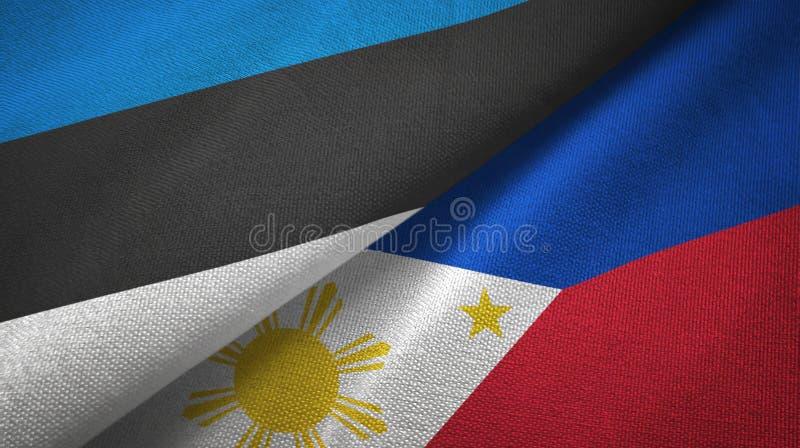 Pa?o de la materia textil de las banderas de Estonia y de Filipinas dos, textura de la tela stock de ilustración