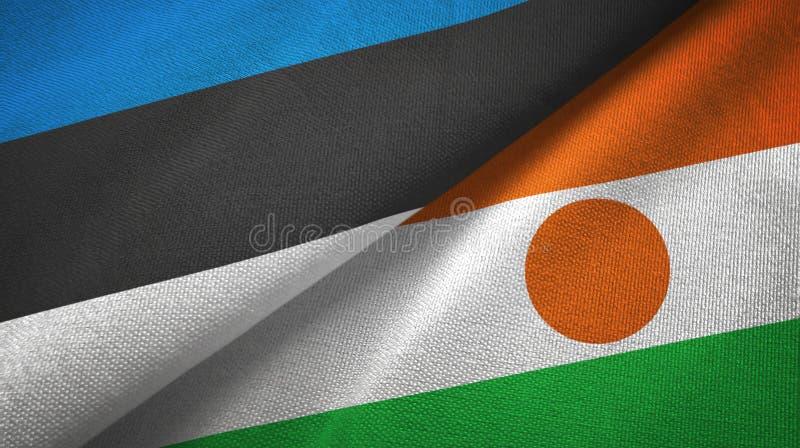 Pa?o de la materia textil de las banderas de Estonia y de Niger dos, textura de la tela stock de ilustración