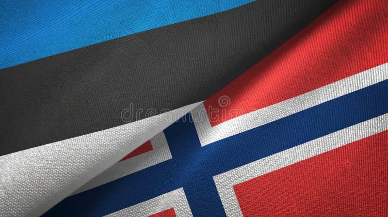 Pa?o de la materia textil de las banderas de Estonia y de Noruega dos, textura de la tela libre illustration