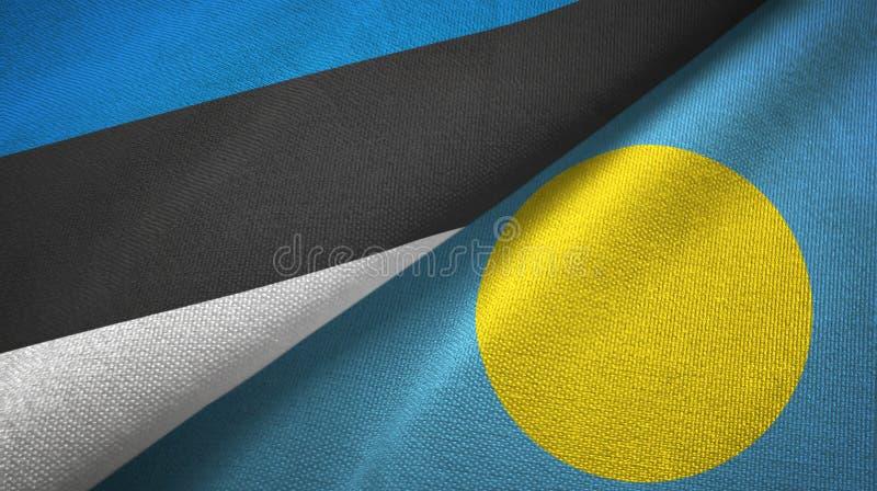 Paño de la materia textil de las banderas de Estonia y de Palau dos, textura de la tela stock de ilustración