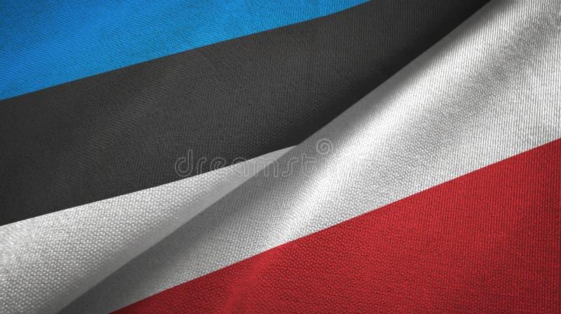 Paño de la materia textil de las banderas de Estonia y de Polonia dos, textura de la tela libre illustration