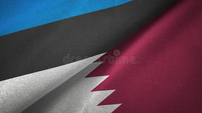 Paño de la materia textil de las banderas de Estonia y de Qatar dos, textura de la tela stock de ilustración