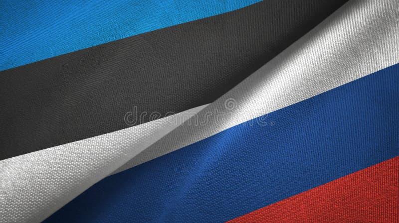 Paño de la materia textil de las banderas de Estonia y de Rusia dos, textura de la tela ilustración del vector