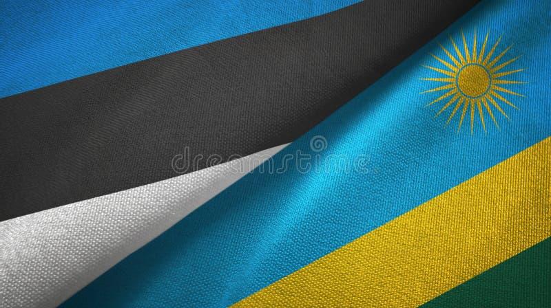 Paño de la materia textil de las banderas de Estonia y de Rwanda dos, textura de la tela stock de ilustración