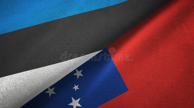 Paño de la materia textil de las banderas de Estonia y de Samoa dos, textura de la tela libre illustration