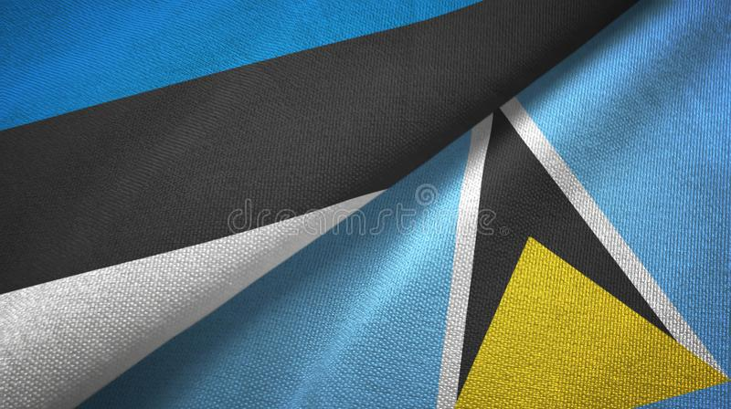 Paño de la materia textil de las banderas de Estonia y de la Santa Lucía dos, textura de la tela ilustración del vector